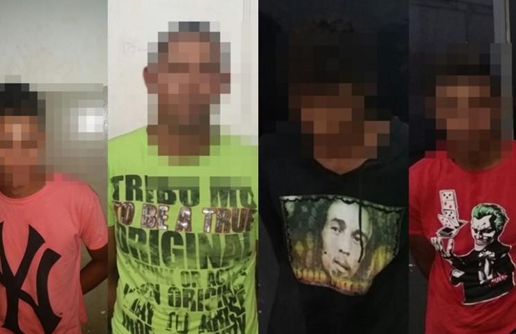 Suspeitos apreendidos pela Polícia Militar - Foto : PM