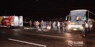 Acidente envolvendo ônibus e moto na BR 364 - Foto : Messias Filho / AGORA MT