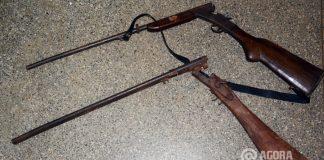 Arma apreendida pela policia ambiental em rancho - Foto: Varlei Cordova/ AGORA MT