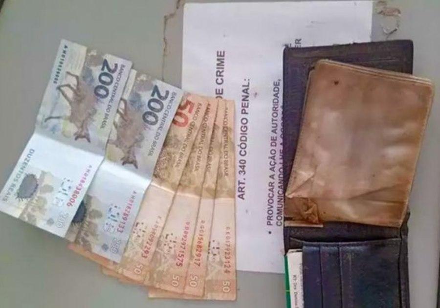 Imagem: Dinheiro encontrado e devolvido ao dono Caminhoneiro encontra carteira com R$ 600 e PM localiza o proprietário