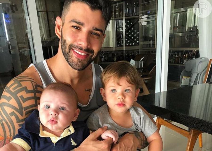 Imagem: Gusttavo e filhos Andressa Suita nega que Gusttavo Lima esteja sem ver os filhos