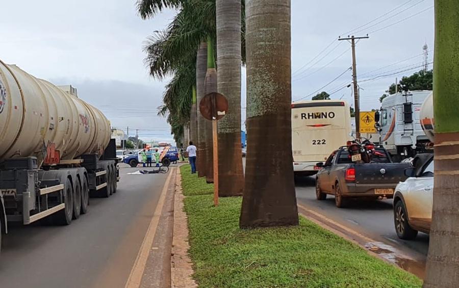 Imagem: acidente alto taquari Cliclista é atropelado por carreta na MT-100 e morre na hora