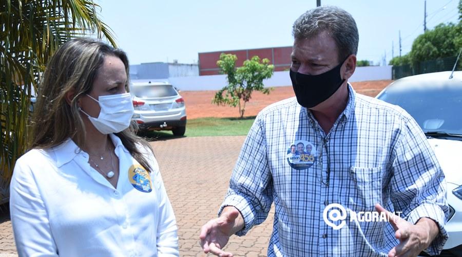 Imagem: Renata Leitao e Ze Marcio Guedes visita o site Agora MT Esposa de Nilson leitão vem a Rondonópolis pedir votos para o marido
