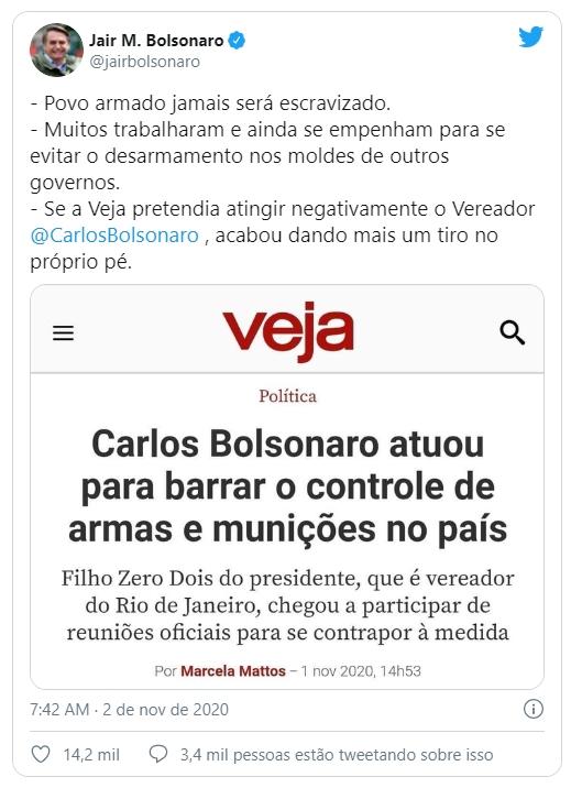 Imagem: rede social Bolsonaro Jair Bolsonaro volta a defender a liberação de armas nas redes sociais