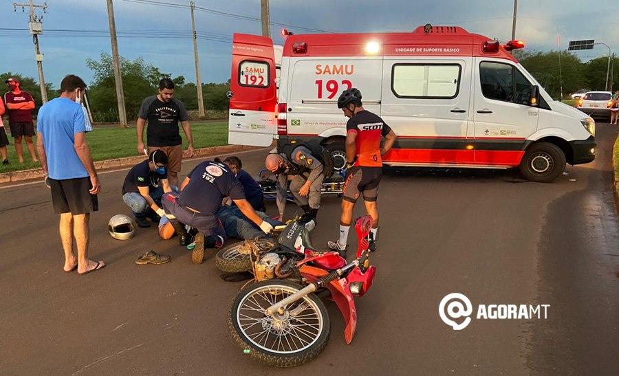 Imagem: Acidente em Tangara da Serra 1 Motociclista fica ferido ao invadir a preferencial