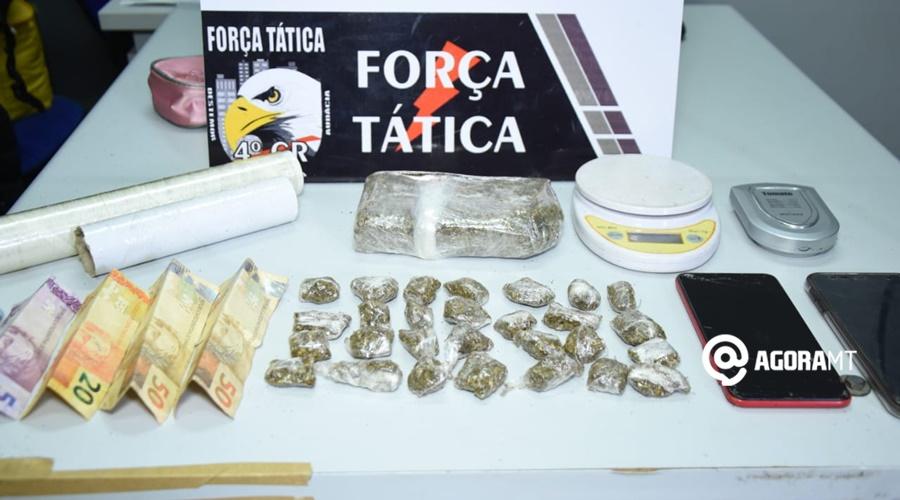 Imagem: Droga apreendida 1 Força Tática prende casal suspeito de tráfico de droga