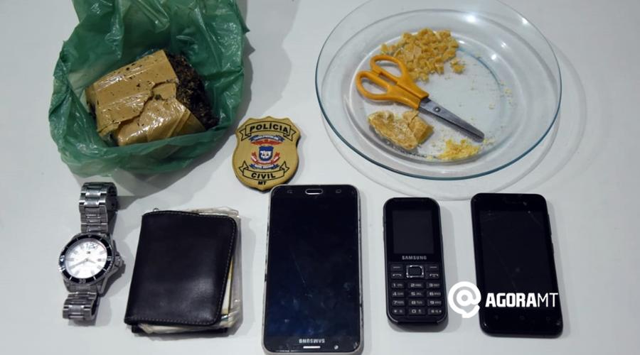 Imagem: Droga celulares apreendidos pela equipe da pjc Polícia Civil tira droga de circulação e prende suspeitos