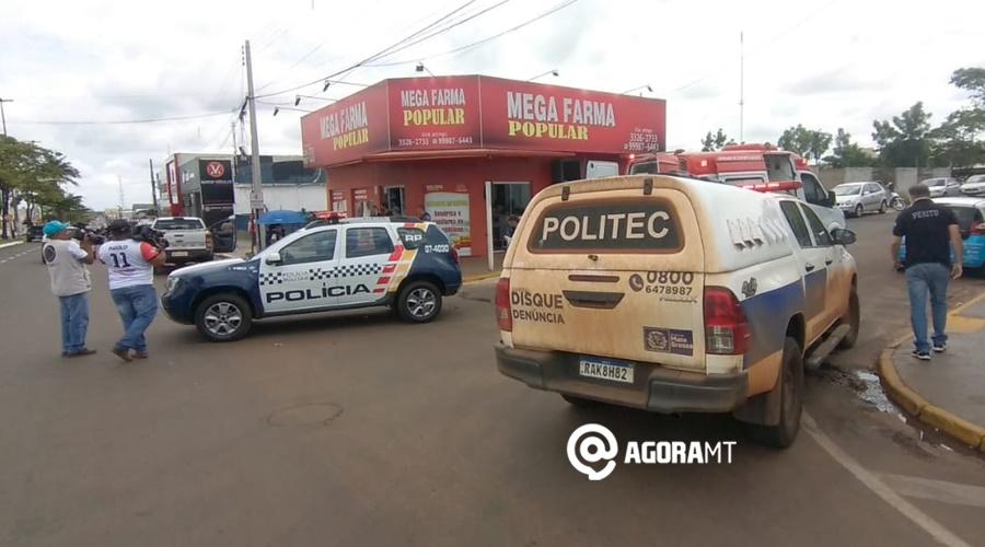 Imagem: Local do acidente em Tangara da Serra Carro invade a preferencial, causa acidente e deixa motociclista ferido