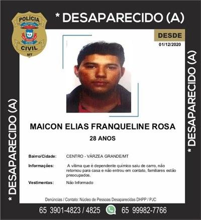 Imagem: desaparecido Desaparecido   Maicon Elias Franqueline Rosa