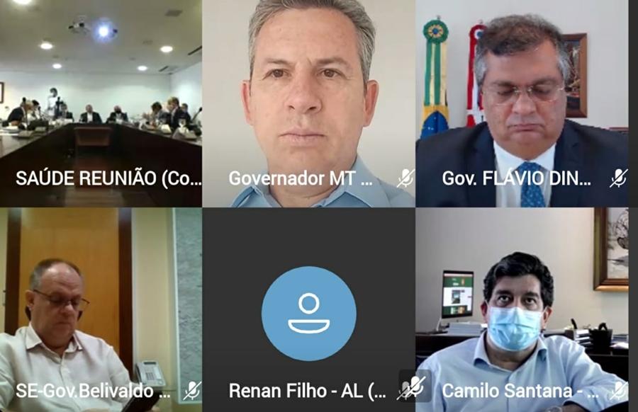 Imagem: reuniao governador Mauro Mendes diz que a previsão é que vacina seja autorizada pela Anvisa em fevereiro