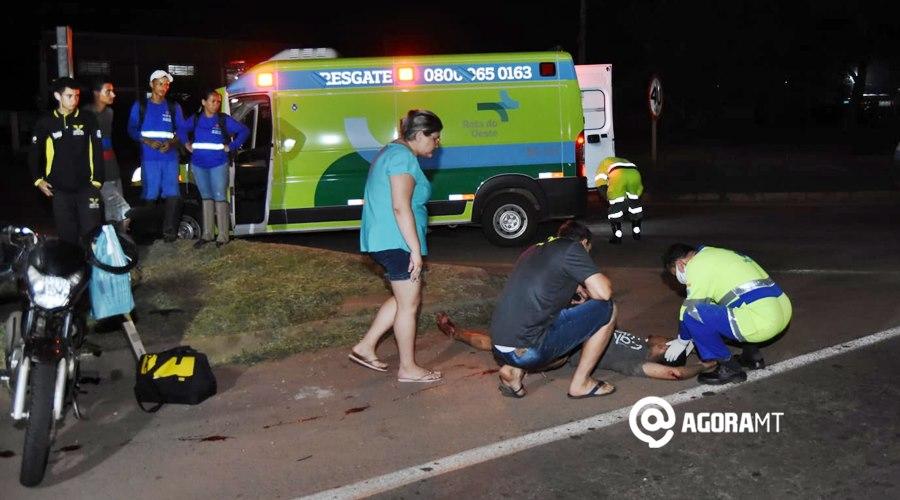 Imagem: Acidente entre duas motocicletas na BR 364 Acidente entre duas motos deixa condutores feridos na BR - 364