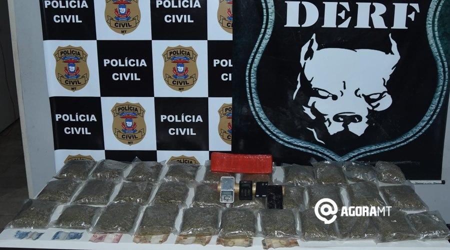 Imagem: Droga apreendida 1 Derf prende figurinha do tráfico e apreende considerável quantidade de droga