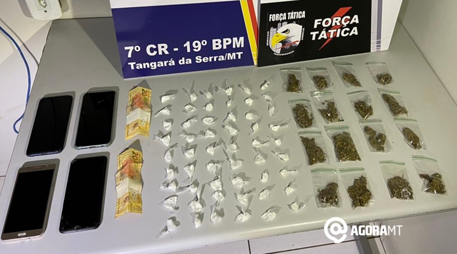 Imagem: Droga apreendida em Tangara da Serra PM prende suspeitos de tráfico e tira entorpecentes de circulação