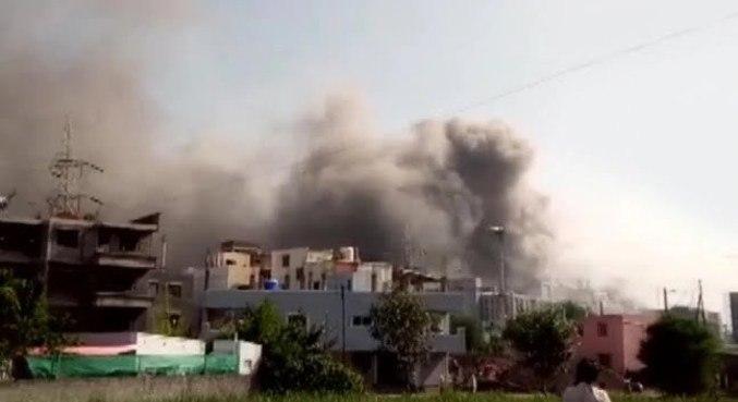 Imagem: INCENDIO PREDIO Incêndio atinge prédio de fabricante de vacinas na Índia