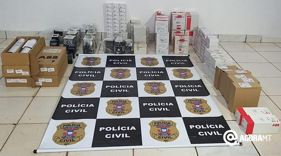 Imagem: Produtos recuperados pela PC Funcionário é preso por furtar equipamentos do patrão e vender na internet
