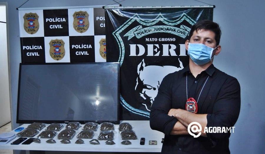Imagem: Delegado Santiago Sanches Derf prende suspeita de associação ao tráfico e tira de circulação grande quantidade de droga