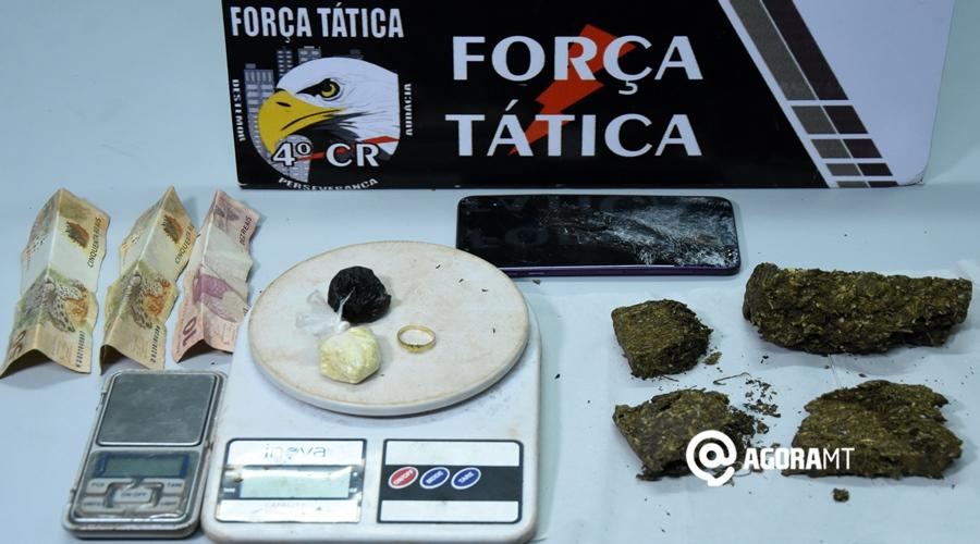 Imagem: Droga celular balanca apreendida com a suspeita pela Forca Tatica Mulher é presa com 400 gramas de maconha em Rondonópolis
