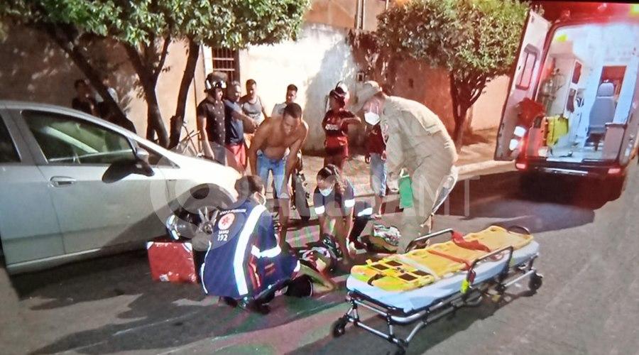 Imagem: Acidente no bairro Olga Maria Motociclista fica gravemente ferido após perder o controle e bater em caçamba