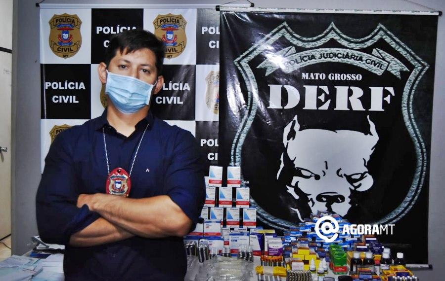 Imagem: Delegado Santiago Sanches Técnico de enfermagem é preso com vários medicamentos e receitas falsificadas