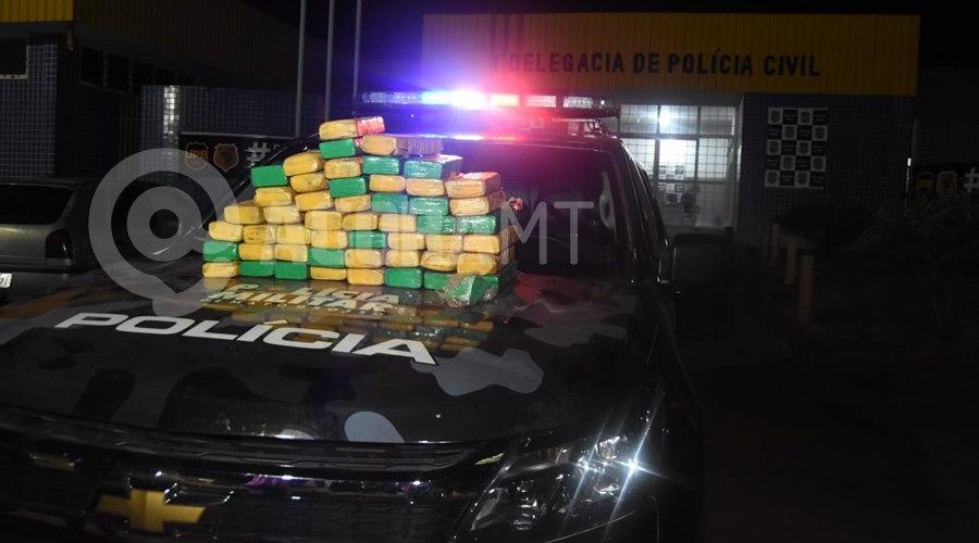Imagem: Droga apreendida 1 Força Tática prende em flagrante suspeito de tráfico com cerca de 50Kg de droga
