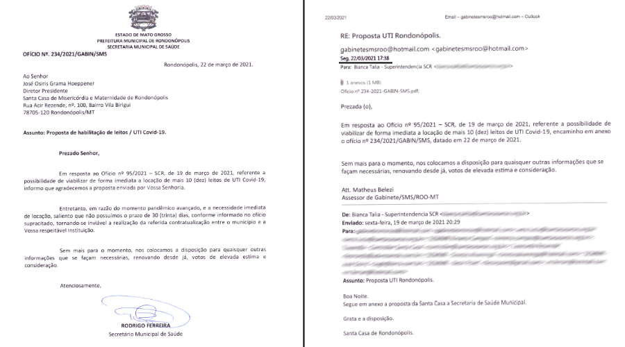 Imagem: oficios stacasa prefeitura Prefeitura já encaminhou resposta à Santa Casa