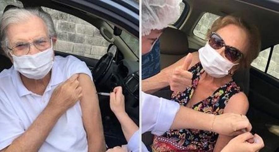 Imagem: tARCISIO E GLORIA Tarcísio Meira e Glória Menezes recebem 2ª dose da vacina