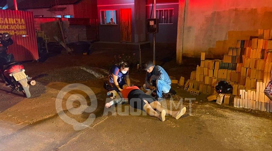 Imagem: Acidente em Tangara da Serra 1 Acidente entre duas motos deixa mulher ferida