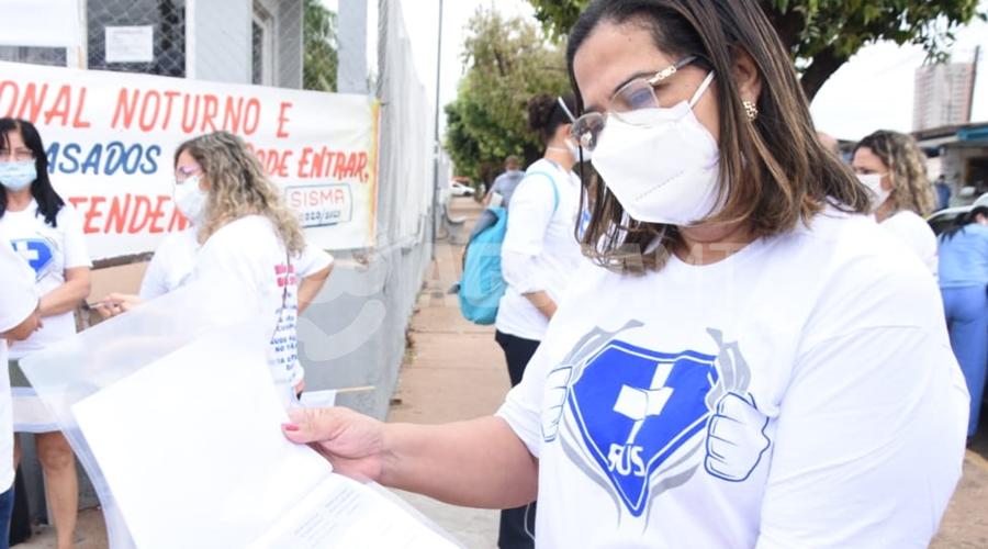 Imagem: CARMEN Servidores do Hospital Regional manifestam por recebimento de atrasados