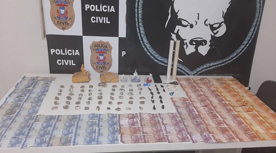 Imagem: Droga e dinheiro apreendido DERF prende suspeito de tráfico de droga em flagrante