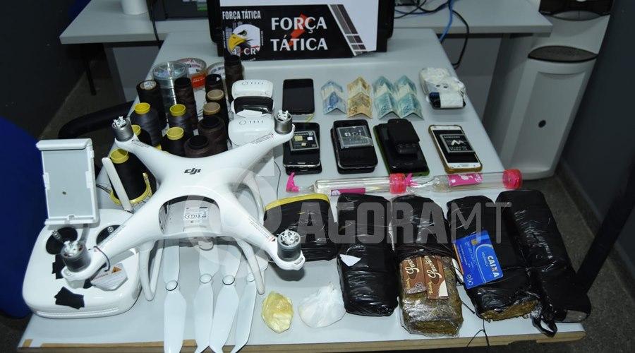 Imagem: Drone drogas e objetos ilicitos Força Tática prende cinco indivíduos e apreende droga, drone e celulares