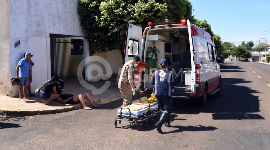 Imagem: Samu atendendo vitima de acidente no Bairro Coopalis Jovem fica ferida após colisão em cruzamento no Coophalis