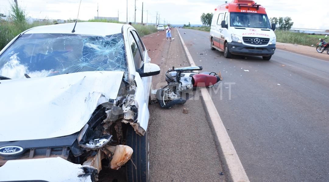 Imagem: Veiculos envolvidos no acidente no anel viario Motociclista invade a pista contrária e fica em estado grave