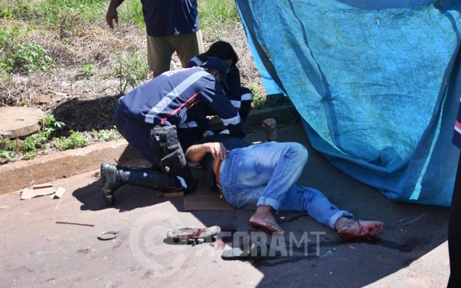 Imagem: acidente Liberdade Motociclista fica ferido após batida em cruzamento