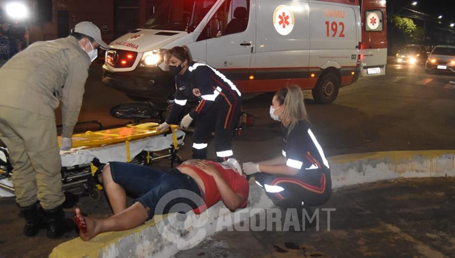 Imagem: acidente moto rondonopolis 2 Motociclistas ficam feridos após colisão em cruzamento