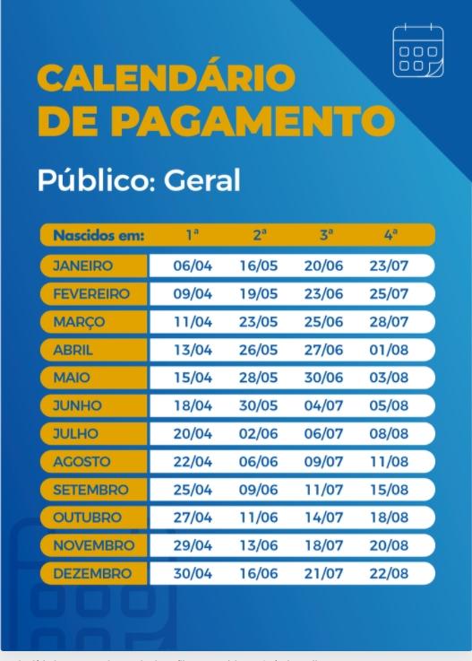 Imagem: calendario Caixa paga hoje auxílio emergencial a nascidos em fevereiro