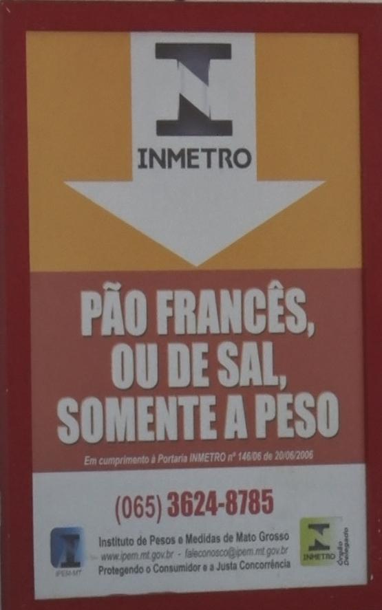 Imagem: inmetro Portaria que determina venda do pão francês por quilo é consolidada