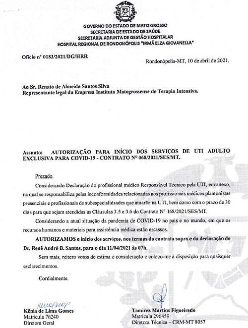 Imagem: oficio hr autorizacao Estado não informou se pendências envolvendo UTIs do HR foram sanadas