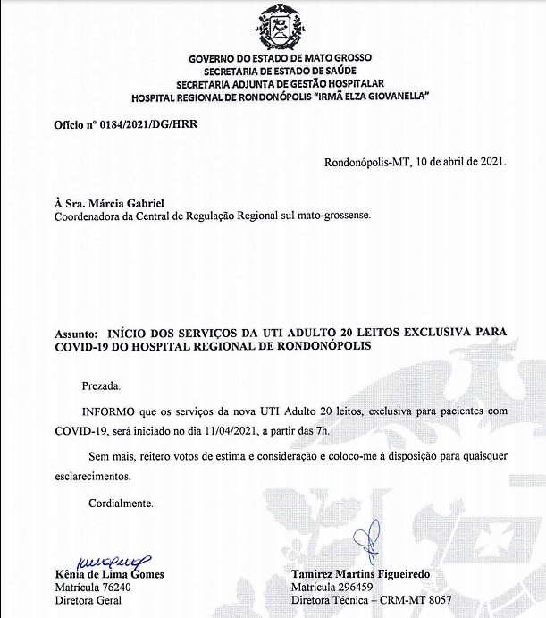 Imagem: oficio hr utis Estado autoriza abertura dos 20 novos leitos de UTI em Rondonópolis