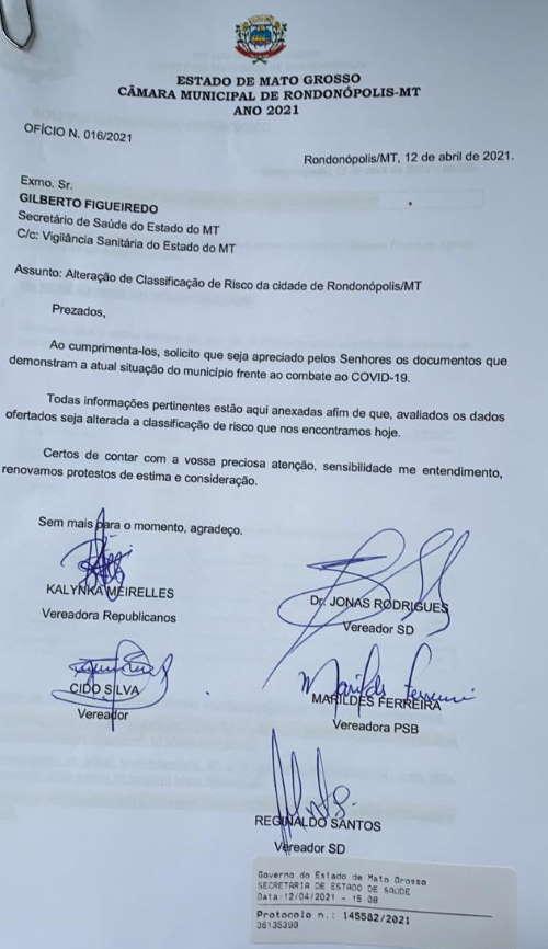 Imagem: oficio ses Rondonópolis pode ter redução da classificação de risco para Covid-19