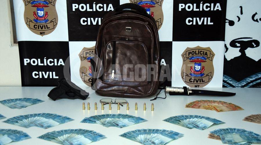 Imagem: Dinheiro de roubo a banco recuperado pela DERF Acusado já roubou joalheria e outra agência em Rondonópolis