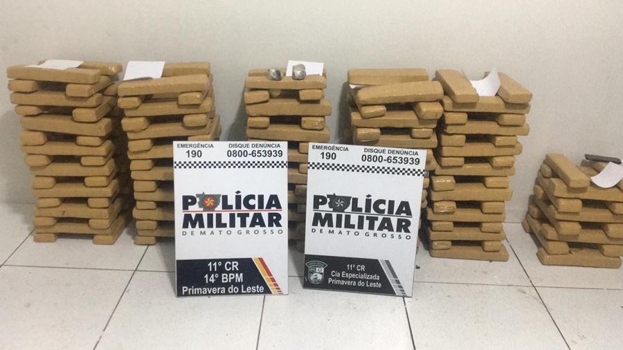 Imagem: Droga apeendida Primavera do leste Polícia Militar apreende 176 kg de maconha em Primavera do Leste