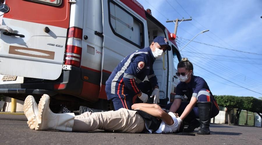 Imagem: acidente 1 Motociclista fica ferido após colisão na Vila Esperança