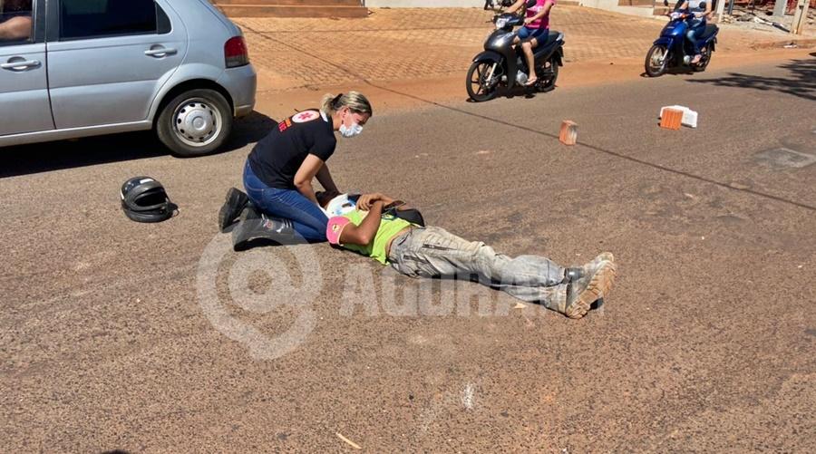 Imagem: acidente vitima Tangara Motociclistas ficam feridos após forte batida com carro