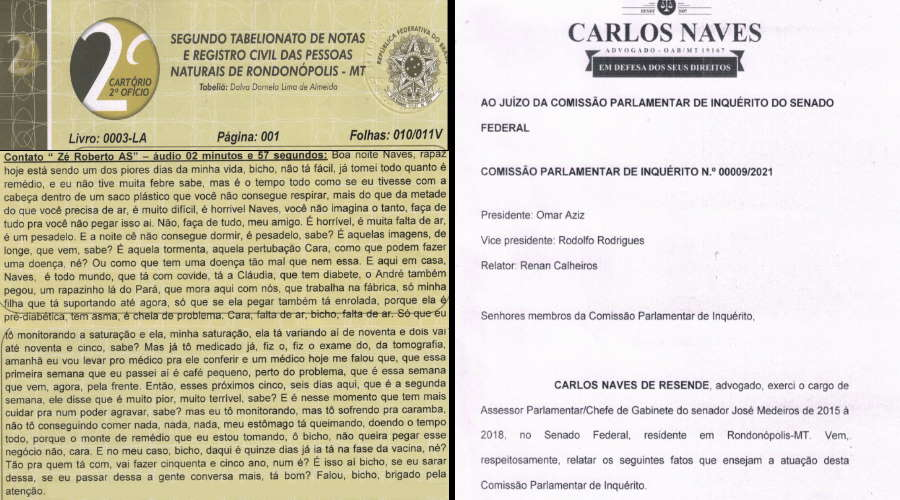 Imagem: facsimile naves Advogado registra B.O., notifica CPI e pede proteção contra deputado