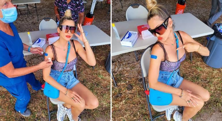 Imagem: livia andrade vacinada Lívia Andrade é vacinada contra Covid nos EUA: 'Pensei muito sobre'