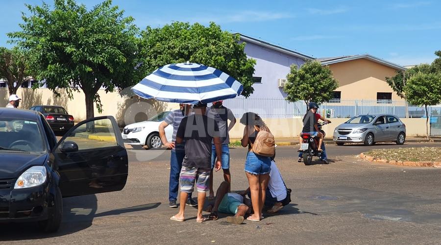 Imagem: 646b1e47 1451 4cb3 885a 1cc9c9c869e8 Colisão entre motos deixa homem ferido em Tangará da Serra