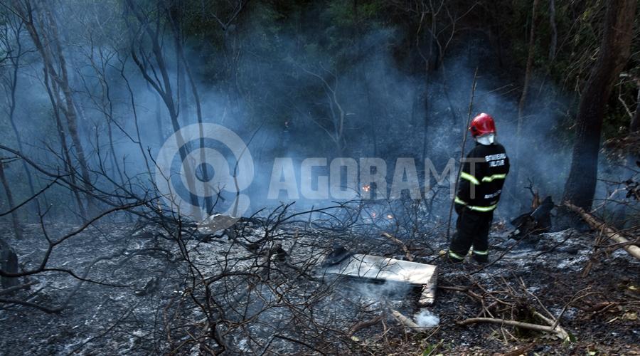 Imagem: Bombeiro no local do acidente aereo Queda de avião mata quatro pessoas e assusta moradores da Rodovia do Peixe