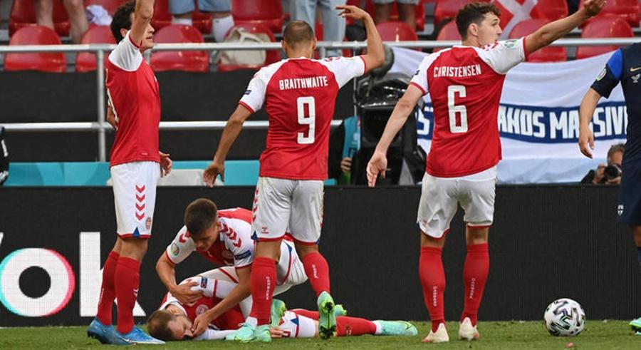 Imagem: Jogador demaia durante jogo Jogador da Dinamarca Christian Eriksen fala pela 1ª vez após desmaio: 'Não vou desistir'