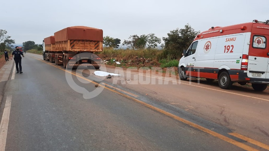 Imagem: acidente vitima fatal.ok Homem morre após ser atropelado por carreta no Anel Viário