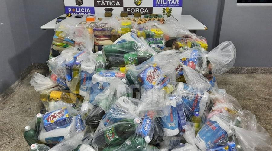 Imagem: cestas faccoes PM apreende droga e cestas básicas de facção criminosa